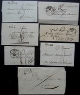 Dijon, Lot De 7 Lettres Entre 1810 Et 1840 Différentes Marques Et Cachets, Lettres Sans Correspondance - 1801-1848: Précurseurs XIX