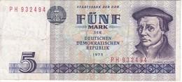 BILLETE DE ALEMANIA  DDR DE 5 MARK  DEL AÑO 1975  (BANK NOTE) - [ 6] 1949-1990 : GDR - German Dem. Rep.
