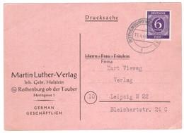IZ630    Germany 1946 Postcard Rothenburg Ob Der Tauber To Leipzig - [7] République Fédérale