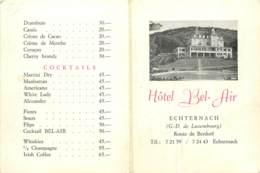 Echternach (Grand Duché Du Luxembourg) - Menu De L'Hotel Bel Air - Menú