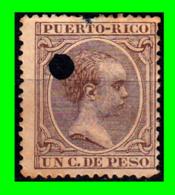 ESPAÑA ( PUERTO RICO ) SELLO AÑO 1890-1897.ALFONSO XIII 1 CENTIMO DE PESO - Puerto Rico