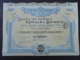 FRANCE - 75 - PARIS 1905 - LOT DE 3 TITRES -STE DES GARAGES KRIEGER ET BRASIER - PART BENEFICIAIRE - BELLE DECO - Actions & Titres