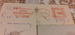 CARTOLINA FIRENZE PIAZZA DELLA SIGNORIA CON AFFRANCATURA PUBBLICITARIA HOTEL MICHELANGELO-1981 - Machine Stamps (ATM)