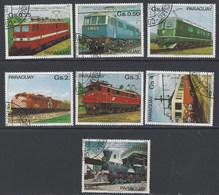 Paraguay U 1828/1834 (o) Usado. 1981 Trenes - Paraguay