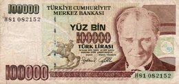 TURKEY 100000 LIRA 1997 P-206  CIRC. - Turkey