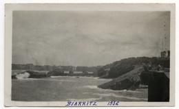 PHOTO ANCIENNE Biarritz 1936 Paysage Nouvelle Aquitaine Plage Bord De Mer Vague Rocher - Places