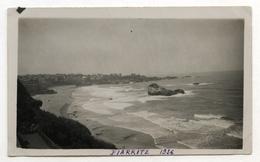 PHOTO ANCIENNE Biarritz 1936 Paysage Nouvelle Aquitaine Plage Bord De Mer Vague Rocher Vue Générale - Places