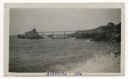 PHOTO ANCIENNE Biarritz 1936 Paysage Nouvelle Aquitaine Bord De Mer Vague Rocher De La Vierge  Vue Générale - Places