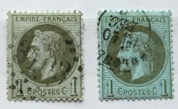 YT 25 Et 25a (°) 1863-70 France 1c Bronze  Et 1c Olive Napoléon III Lauré (côte 31 Euros) – Fobleu - 1863-1870 Napoléon III Lauré