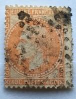 YT 31 (°) 1863-70 Napoléon III Empire Franc Lauré, 40c Orange (côte 12 Euros) – Bleu2 - 1863-1870 Napoléon III Lauré