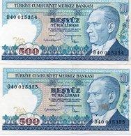TURKEY 500 LIRA 1984 P-195a.2  AUNC-UNC D40 015354-5 CONSECUTIVE - Turkey