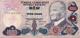 TURKEY 1000 LIRA 1981 P-191a.3 CIRC. - Turquie
