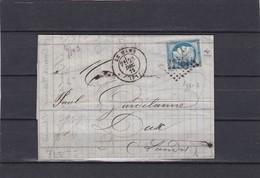 LE MANS  (  SARTHE )  GC 2188  + LAC+  N°60C -pour  DAX -  23  DEC. 1875 - REF 1338 + Variété - Marcophilie (Lettres)