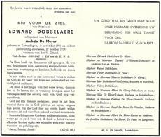 Edward Dobbelaere - ° Lovendegem 1901 + Lovendegem 1959 - Devotion Images