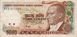 TURKEY 5000 LIRA 1988 P-197a.2 CIRC. - Turquie