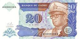 Zaire (BDZ) 20 Nouveaux Zaires 1993 UNC Cat No. P-56a / ZR138a - Zaire