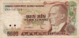TURKEY 5000 LIRA 1988 P-197a.1 CIRC. - Turkey