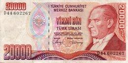 TURKEY 20000 LIRA 1988 P-201a  CIRC.XF  D44 602267 - Turkey