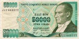 TURKEY 50000 LIRA 1989 P-203a  CIRC,   SERIE  J22  444577  RADAR - Turkey