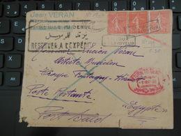 LETTRE POUR EGYPTE EN POSTE RESTANTE ET RETOUR A L'ENVOYEUR JAN 1930 - Postmark Collection (Covers)