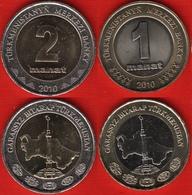 Turkmenistan Set Of 2 Coins: 1 - 2 Manat 2010 BiMetallic UNC - Turkmenistán