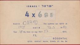 QSL Card Amateur Radio Station CB Funkkarte Micha Rosenthal Kiryat Haim Gimel Streer Israel - Radio Amatoriale