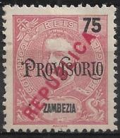Zambezia – 1914 King Carlos Local Surcharge REPUBLICA 75 Réis - Zambèze