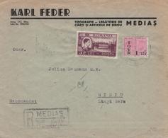 Karl Feder Medias R-Brief Nach Sibiu 1947 - Hafen Konstanta König Michael I. - Fiskal-Marke Mit Überdruck - Cartas