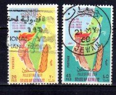 1968 Kuwait Palestina Day Used Mi 393-394 Map Of Palestina, Hand With The Tourch, - Kuwait
