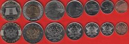 Ghana Set Of 7 Coins: 1 Pesewa - 2 Cedis 2007-2019 UNC - Ghana