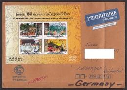 Laos 2010 Block 227 Laos To Germany Airmail - Laos