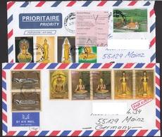 Laos 2014 Laos To Germany 2 X Airmail Nice Buddha - Laos