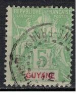 GUYANE           N°  YVERT     43    ( 5 ) OBLITERE       ( OB 07/15 ) - Usati