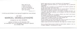 Devotie Doodsprentje Overlijden - Marcel Demeulenaere Echtg Irène Vanneste - Menen 1921 - Benidorm 1990 - Décès