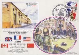 Carte   Maximum   FRANCE  60éme  Anniversaire  De  La  Capitulation  Allemande    REIMS   2005 - WW2