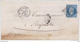 LETTRE 20 C TYPE NAPOLEON III DE MONTPELLIER POUR REQUISTA - Marcophily (detached Stamps)