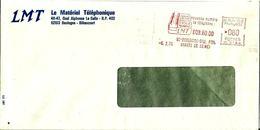 Lettre Entière  EMA LMT Materiel Telephonique  Poste Telephone 92 Boulogne Billancourt  D/13 - Affrancature Meccaniche Rosse (EMA)