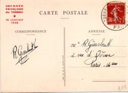 Paris 1938 - Journée Du Timbre - Grand Cachet Horoplan - 2 Scans - Poststempel (Briefe)