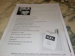 ANCIENNE PUBLICITE CIGARETTE KOOL 1967 - Publicités