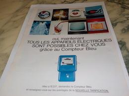ANCIENNE PUBLICITE COMPTEUR BLEU EDF 1967 - Publicités