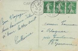 HAUTE GARONNE 31   -  GANTIES   -  CACHET RECETTE    R A4  -  1919  -  BELLE FRAPPE - SUR CPA GANTIES - Manual Postmarks
