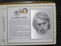 """BELG.1988 2303 : """" SOLIDARITEIT (Jaques Brel) """" Filatelistische Kaart Zijde NL.(CEF), Gelimiteerde Oplage - FDC"""