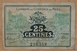 LE MANS ( 72  ) 25 Centimes Chambre De Commerce Du Mans 24 Janvier 1922 - Chambre De Commerce