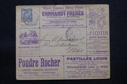 FRANCE - Entier Postal Type Sage Timbré Sur Commande,(47 Rue Laffite, Série 41) De Bordeaux Pour Paris En 1887 - L 57305 - Postal Stamped Stationery