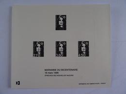 FRANCE - Blocs Des Couleurs De La Marianne Du BICENTENAIRE En Francs 18 Mars 1996 - Epreuves Sur Carton   TBE - Variedades Y Curiosidades