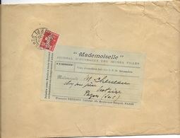 SEINE 75   - PARIS   - CACHET PORT PAYE IMPRIMES  -  1909  - SUR ENVELOPPE MADEMOISELLE JOURNAL DE JEUNES FILLES - Periódicos