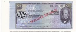 Billet Fictif - Travelers  Cheque  - Us - 10 Dollars  - - Specimen