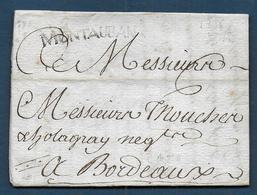 Marque MONTAUBAN  Sur Lettre De 1785 Pour Bordeaux - Marcophilie (Lettres)