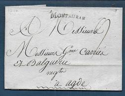 Marque MONTAUBAN  Sur Lettre De 1790 Pour Agde - Marcophilie (Lettres)