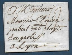 Marque MONTAUBAN  Sur Lettre De 1768 Pour Lyon - Marcophilie (Lettres)